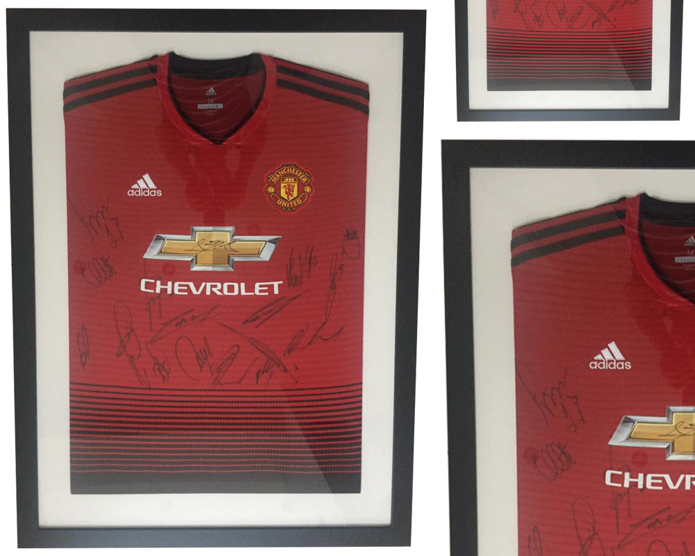 Football Shirt framed by SG Framing in Manchester with Single Mount in flat frame